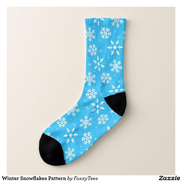 Winter Snowflakes Pattern Socks