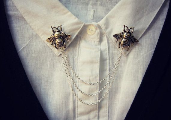 Bee collar pins collar chain collar brooch lapel by alapopjewelry