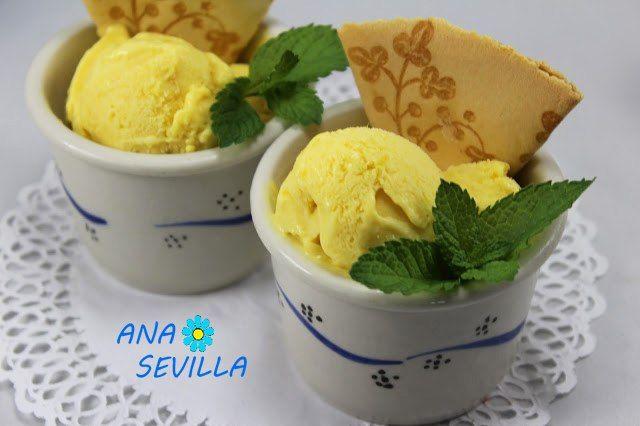 Delicioso helado natural de mango fresco