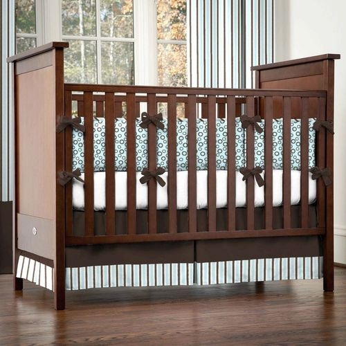 Blue and Brown Circles and Stripes Crib Bedding | Blue and Brown Crib Bedding for Baby Boy Nurseries | Carousel Designs: Crib Bedding, Stripes Cribs, Boys Nurseries, Brown Cribs, Carousels Design, Carousel Designs, Blue Crib, Baby Boy, Brown Circles