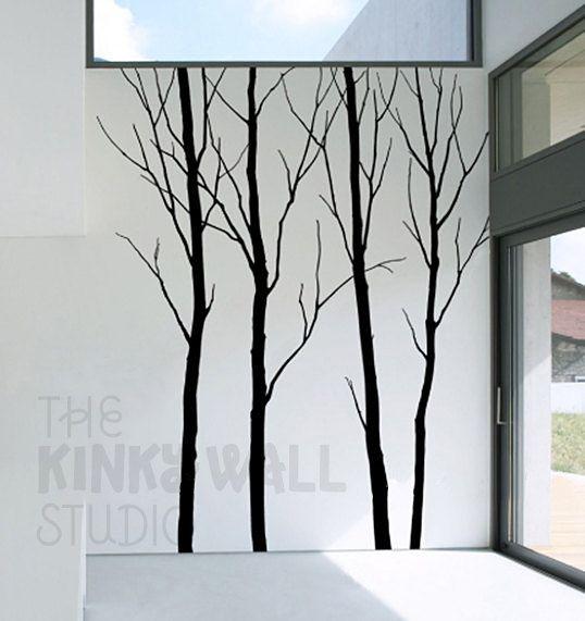 Art Wall Decal Wall Sticker tree decal Vinyl decal-  Bare Winter tree  ( 4 trees ) - kk129. $70.00, via Etsy.