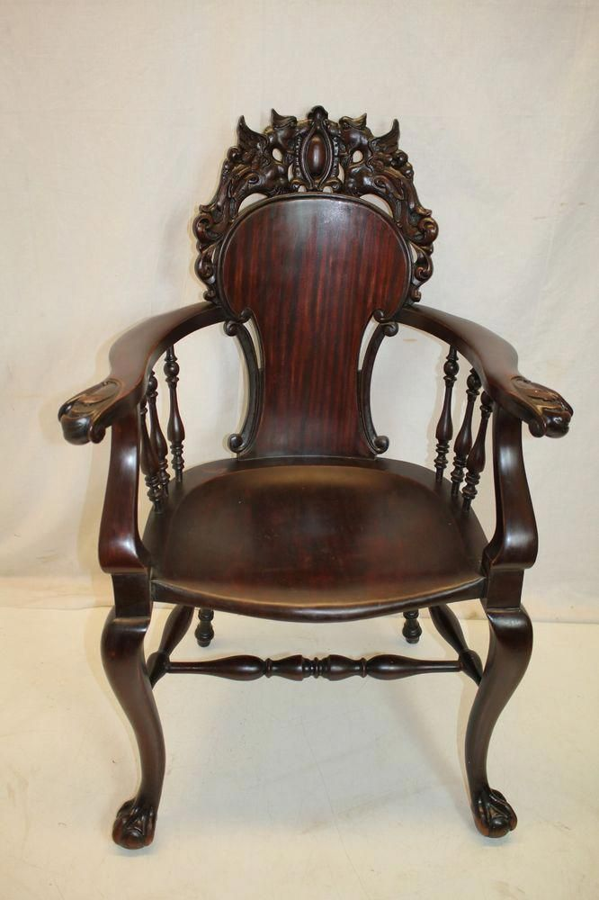Antique Victorian Chippendale Mahogany Armchair, late 19th c. ~ ebay.com  #AntiqueFurnitureForSale - Antique Victorian Chippendale Mahogany Armchair, Late 19th C. ~ Ebay