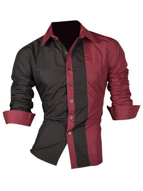 Long Sleeve Color Block Splicing Design Men's Shirt - WINE RED 2XL