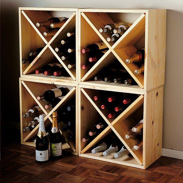 Pine Cube Wine Rack - $44