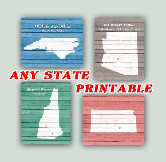 ANY STATE PRINTABLE Personalized State Map Faux by DigitalArtLand