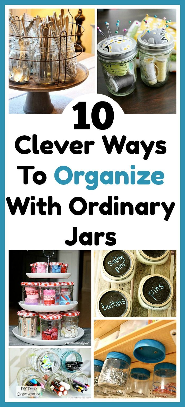 10 Ways To Organize Your Home With Jars - Jars are not only functional but look pretty. They're also affordable (especially if you re-purpose jars you already have or pick them up at thrift stores/garage sales). Check out these 10 creative ways to organize your home with jars! home organization, organizing ideas, kitchen organization, home storage ideas, frugal organizing ideas #organization #storageideas #masonjar #upcycled