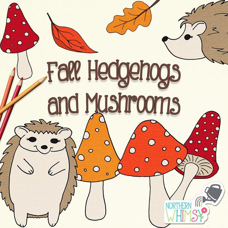 Fall Clip Art hand drawn autumn hedgehog and mushroom