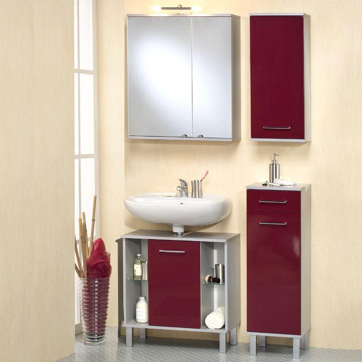 Badezimmer 4 Tlg »ASCO« In Hochglanz Rot   Alufarben Jetzt Bestellen Unter: