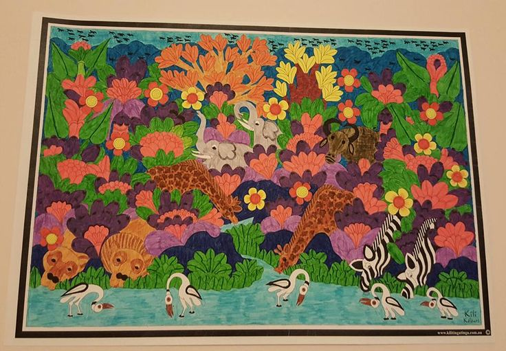 completed Kili Kolours by Anita Lang Available for purchase on www.kilitingatinga.com.au  ideal for #ink, #paint, #pencil and #watercolour. #Adultcolourining #colour-in #adult #relax #africanart #giveback #stockingfllers #coloringforadults #drawing #ink #drawings #Coloring book #floraldesign