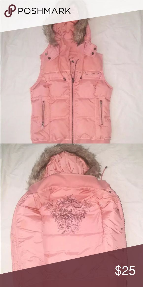 Juicy couture puffy vest sz L pink faux fur Good condition Juicy Couture Tops Sweatshirts & Hoodies