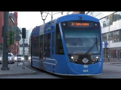 Traveling with a tram between Solna railway station and Sundbyberg railway station