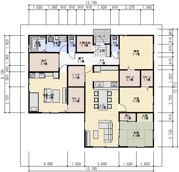 平屋 間取り 40坪 4LDK 二世帯住宅