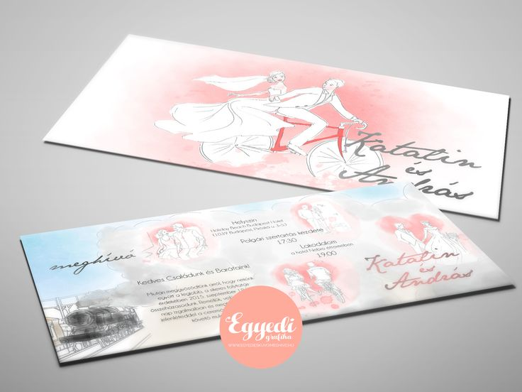 Különleges rajzzal illusztrált, vízfesték hatású esküvői meghívó | Unique hand drawn and watercolor styled wedding invitation card