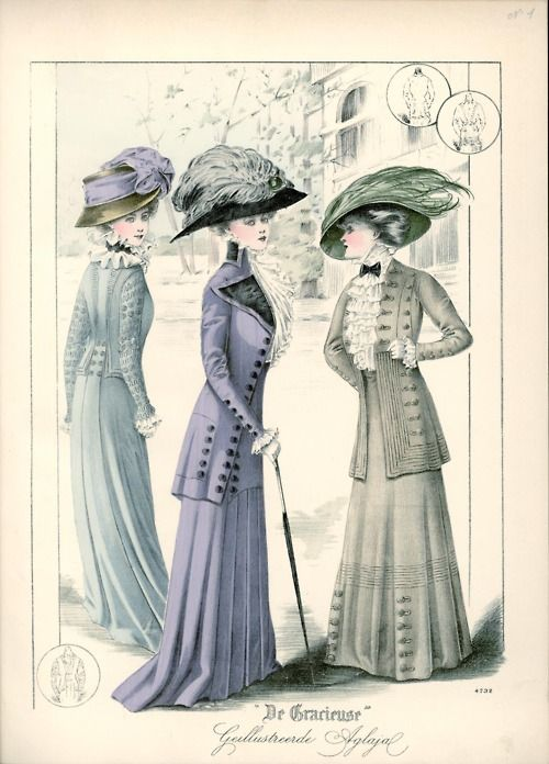 Walking suits, 1909 the Netherlands, De Gracieuse