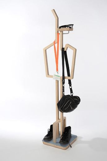 Anara Mailybayeva Tall Poppy clothes valet stand; wood, steel hardware... add an oval at an angle to the top protruding bar to rest a flat topped cover/hat on it and it not lose its shape. I am a little unsure about the trouser hook being inside because it defeats the purpose of the valet stand and being able to access things in the order you use them without disturbing other things - but it does give me some great ideas.