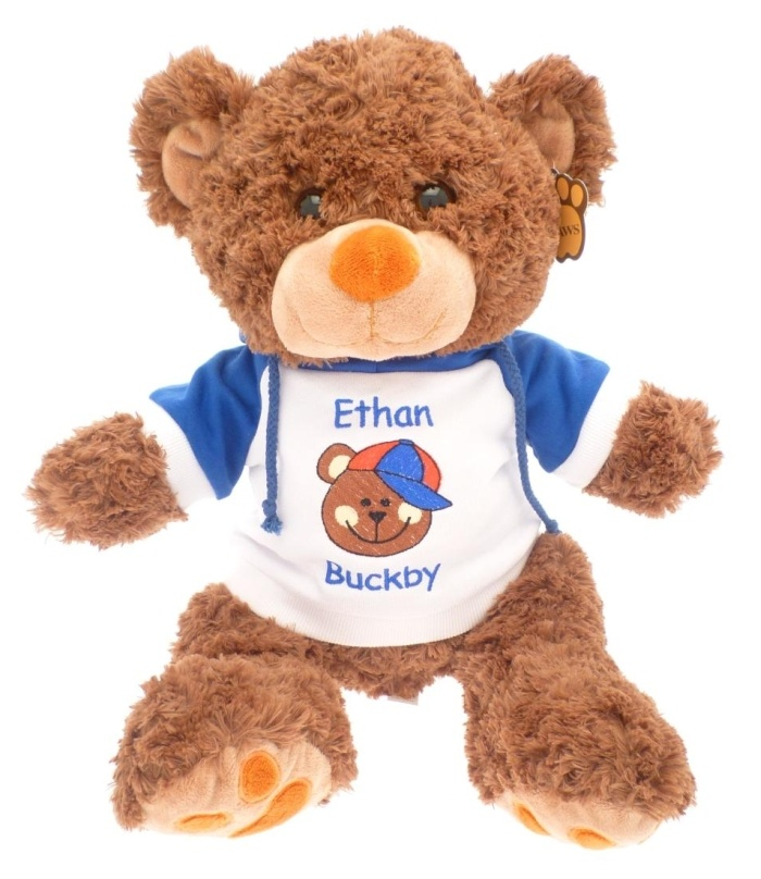 Personalised Teddy Bear wearing blue hoodie with childs name and bear wearing cap design embroidered