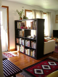 Book case divider. Maybe to put near door so we can put the TV against it and create a bit of a foyer?
