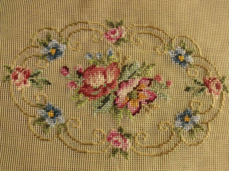 23x18 PREWORKED Needlepoint Canvas Pink by Magnoliawonderworld
