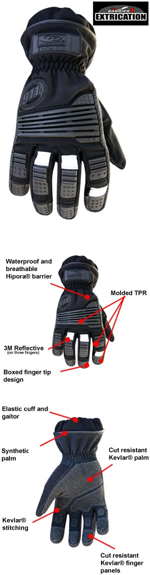 Ringers Barrier 1 Extrication Gloves. Waterproof and breathable Hipora® barrier, protects against micro organisms such as TB, Hepatitis, Staph and HIV Meets OSHA Bloodborne Pathogens Standard 29 CFR 1910.1030 3M™ reflective fabric Boxed fingertip design for better fit and comfort Molded TPR (Thermal Plastic Rubber) finger knuckle and finger tip panels Molded TPR reduces impact and increases dexterity Elastic cuff and gaitor to protect against broken glass and debris .8mm synthetic leather…