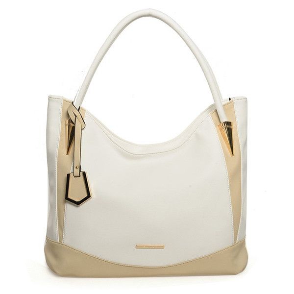 White  -  Patchwork Metal Detail Soft Leather Tote Bag £23.99