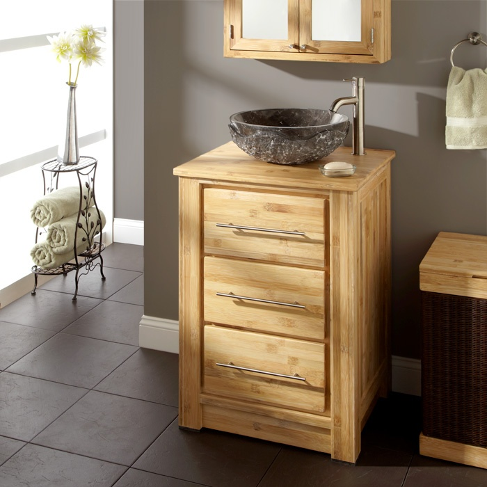"24"" Venica Bamboo Vanity Cabinet with Bamboo Top for Vessel Sink"