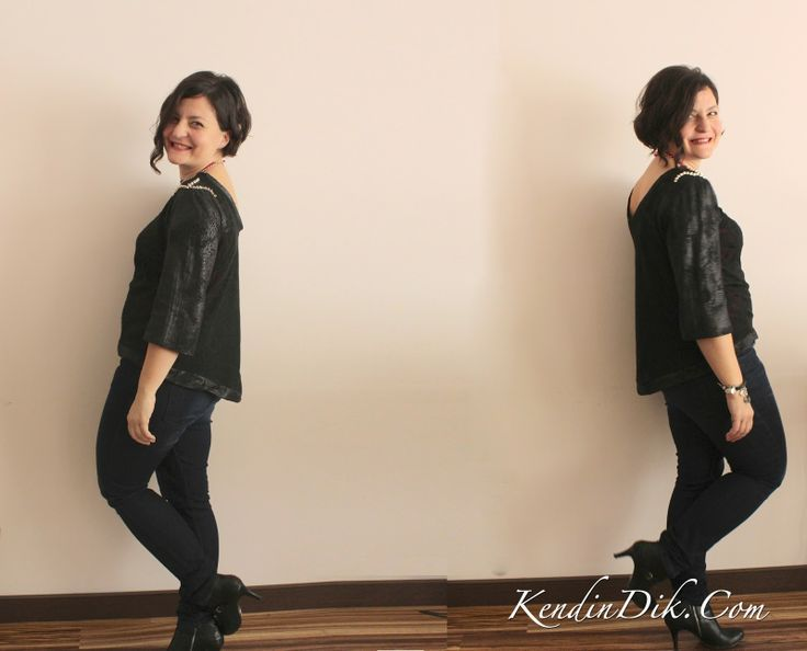 rock'n roll tshirt t-shirt design black tshirt leather sleeves with rivets sewing blog kendindik.com siyah tişört deri detaylar dikiş tasarım