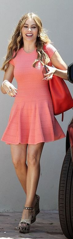 Who made  Sofía Vergara's pink short sleeve dress and platform sandals?