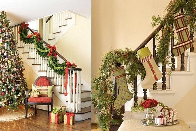 Una hermosa escalera decorada para navidad adem s de la - Escaleras decoradas en navidad ...