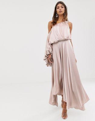 221a22e1d1df8 EDITION blouson one shoulder dress in satin in 2019   f o r m a l ...