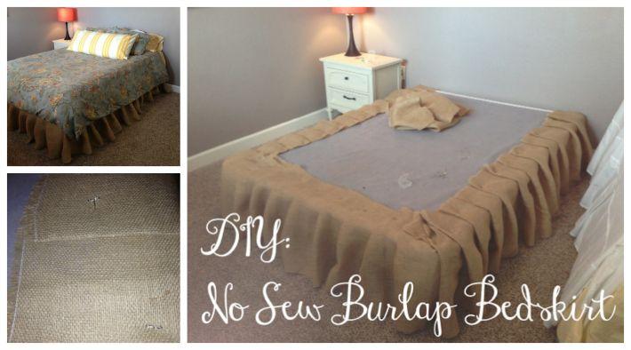 No Sew Burlap Bed Skirt Tutorial | DIY Cozy Home