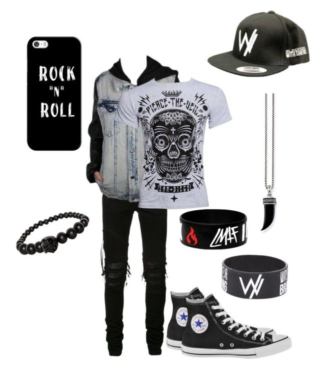 """Emo/goth/scene boy"" by liebe03 ❤ liked on Polyvore featuring AMIRI, Alexander McQueen, Thomas Sabo, Converse, Casetify, men's fashion and menswear"