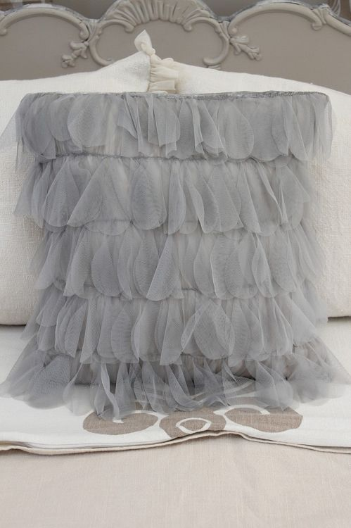 Couture Dreams Chichi Grey Petal Decorative Pillow, Gorgeous Ruffled Pillow Couture Dreams ...