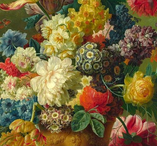 Paulus Theodorus van Brussel  Flowers in a Vase, detail  1792