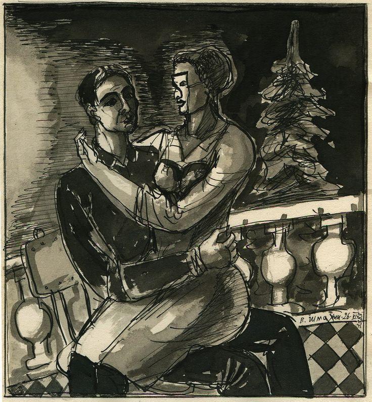 """Victor Shmokhin. """"Новогодняя встреча"""" 1983г Бумага /тушь, акварель, кисть. 17,7х10,5 (№1,282)"""