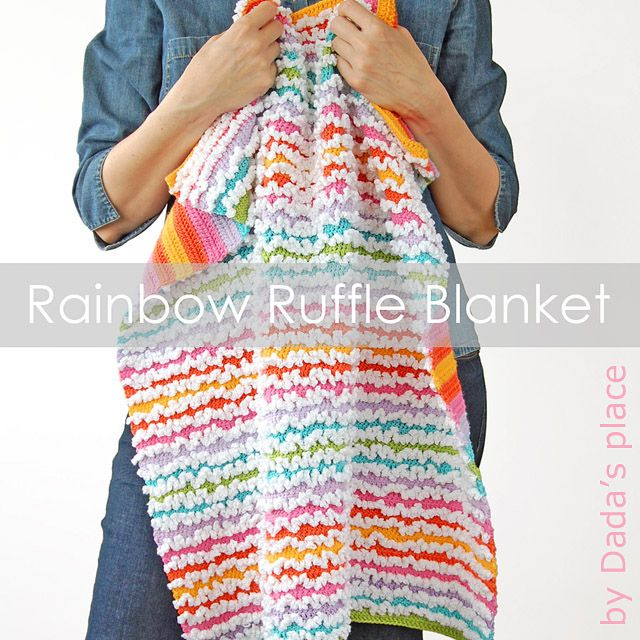 Free Rainbow Ruffle Blanket Pattern ~ this is SO gorgeous! :)