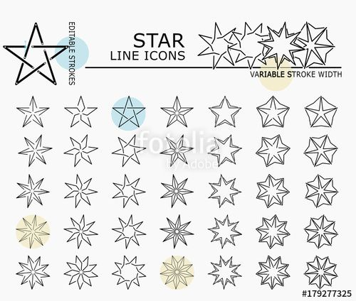"Download the royalty-free vector ""Star line icons with minimal nodes and editable stroke width and style"" designed by dropix at the lowest price on Fotolia.com. Browse our cheap image bank online to find the perfect stock vector for your marketing projects!"