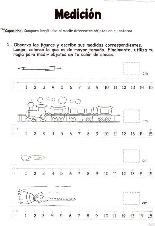 Observa las figuras y escribe sus medidas correspondientes. Luego, colorea la que es de mayor tamaño. Finalmente, utiliza tu regla para medir objetos en tu salón de clases. Medición: Compara longitudes al medir diferentes objetos de su entorno.