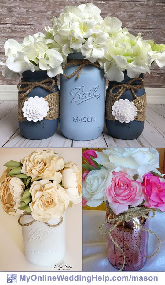 381 best images about mason jar wedding on pinterest for Mason jar wedding centerpiece ideas