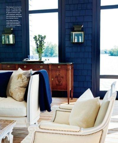 Coastal cottage blue and white decor
