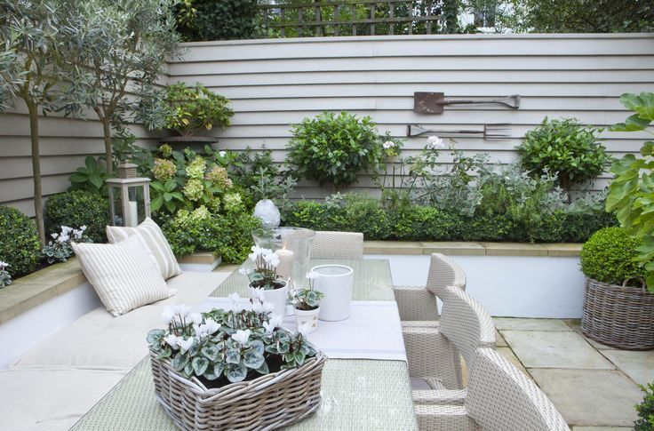 Banquette, built into the garden beds