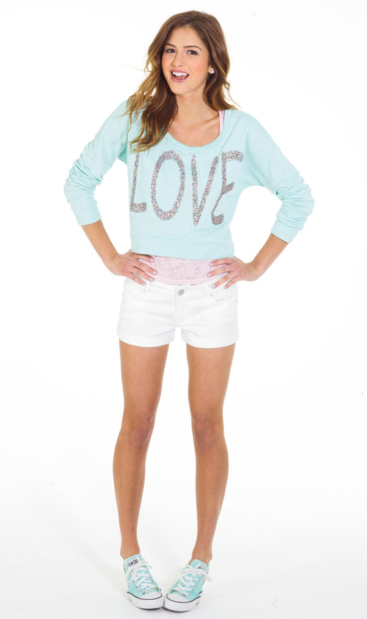 Love Sequin Sweatshirt...so cute for a breezy summer afternoon