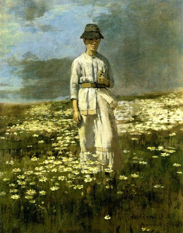 Theodore Robinson (American, 1852-1896), [Old Lyme Colony, Impressionism] Daisy Field, Nantucket, 1882.