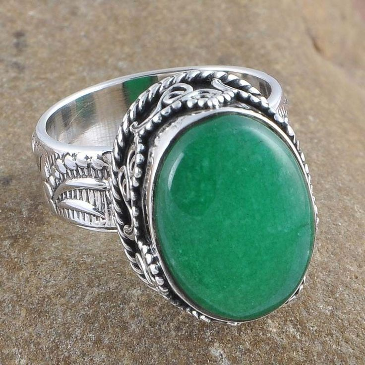 925 STERLING SILVER 9.24g GREEN AVENTURIAN STYLISH FANCY RING JEWELLERY R0966 #Handmade #Ring