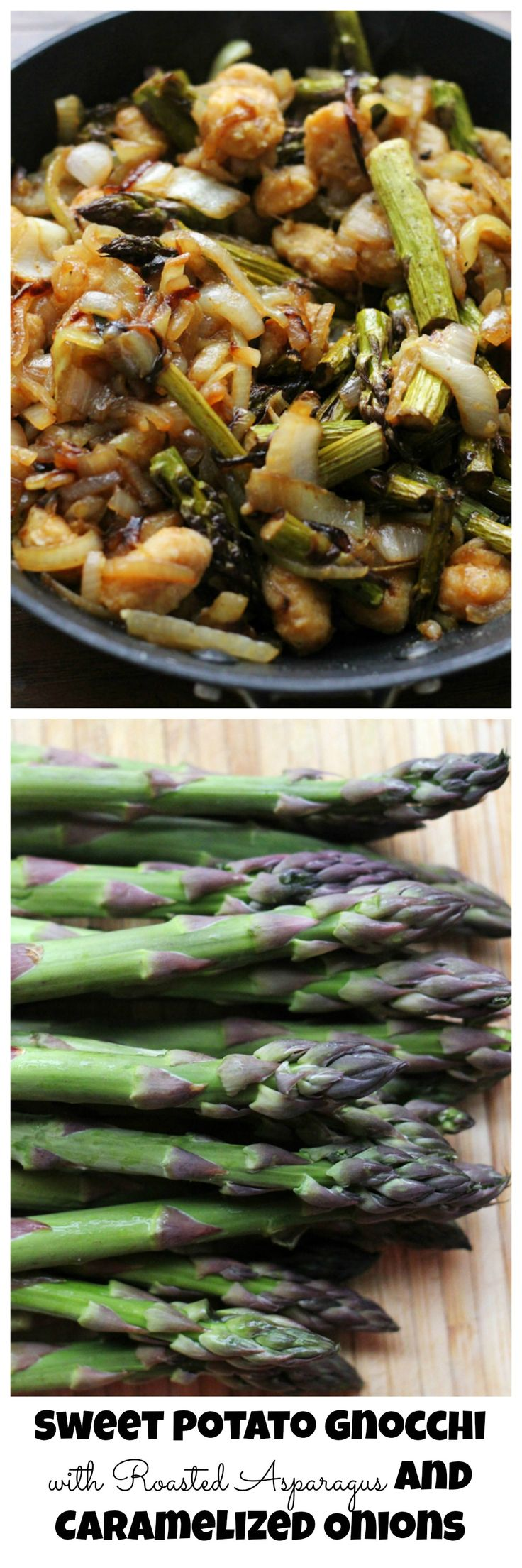 Sweet potato gnocchi with balsamic-roasted asparagus and caramelized ...