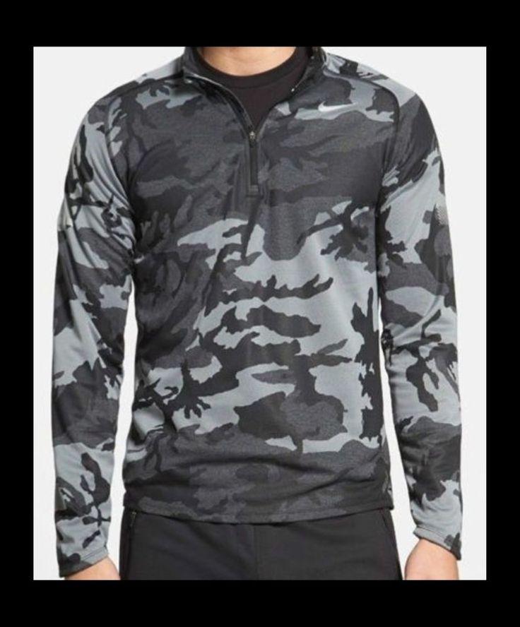 Men's Nike Running Element Dri-Fit Camo Long sleeve Shirt LARGE 640109 011 NWT   #Nike #ShirtsTops