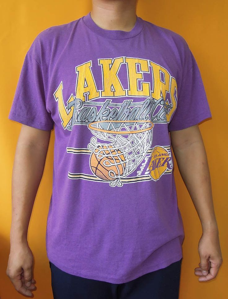 Los Angeles Lakers T Shirt XL Vintage Stedman Tag 50-50 Cotton Polyester Short Sleeves T-Shirt Made In USA (26/04) by InPersona on Etsy