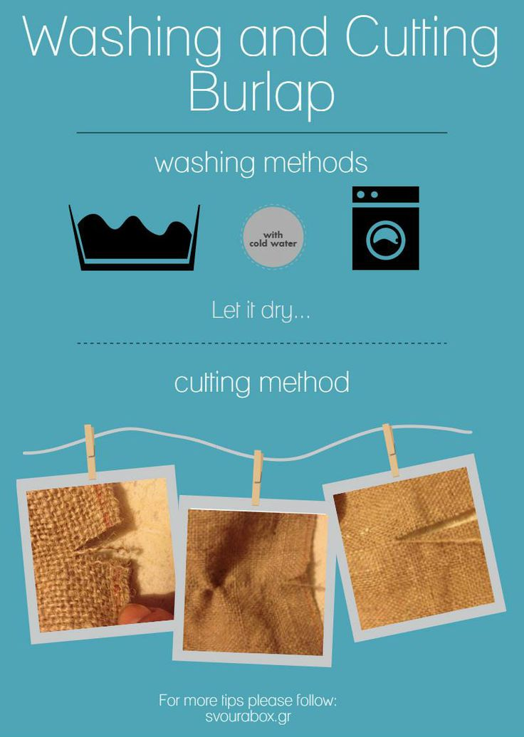 Washing and cutting burlap!  Check out how to cut burlap, step by step with photos!