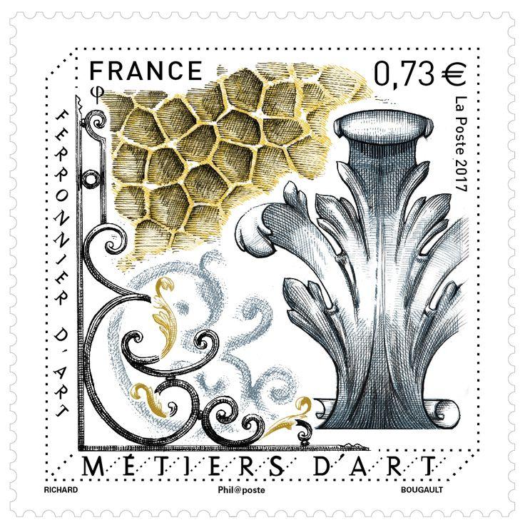 Grand Prix de l'Art Philatélique Français 2017 dans la catégorie des timbres en feuille gommés: le  timbre dessiné pour La Poste par Steaven Richard sur le thème de la Ferronnerie d'art  #philatélie #ferronneriedart #steavenrichard