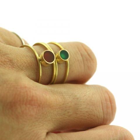 anillo doble de agata verde   Assumpta Bou