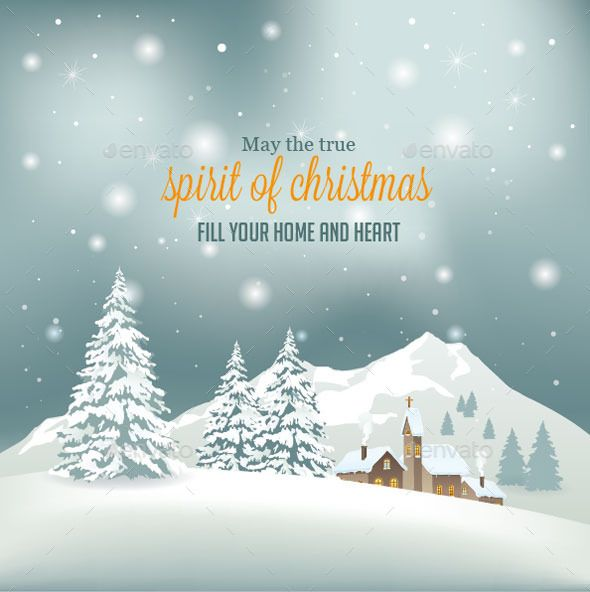 Retro Christmas Background — JPG Image #background #mountain • Available here → https://graphicriver.net/item/retro-christmas-background/9562347?ref=pxcr